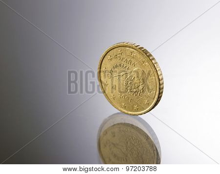 fifty Euro cent Coin on the glass top
