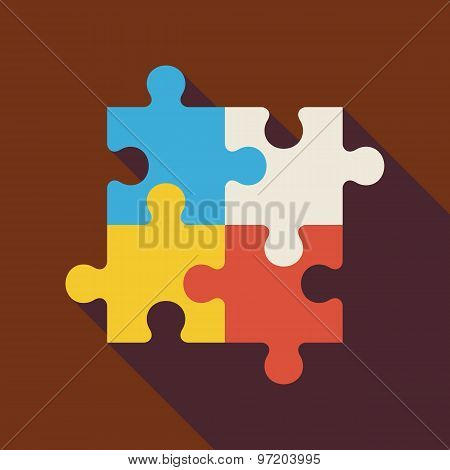 Flat Puzzle Illustration With Long Shadow