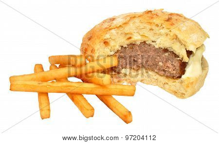 Half Eaten Beef Burger And Fries