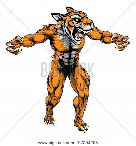 Tiger Scary Sports Mascot