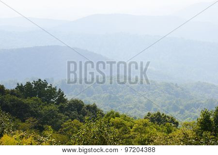 Shenandoah National Park - Cascade forests at morning haze