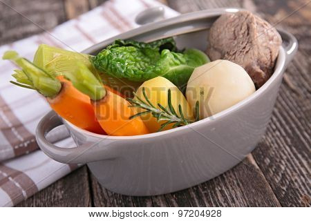boiled vegetable and beef