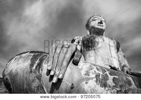 Black and White. Ancient Buddha Statue at Sukhothai historical park, Mahathat Temple ,Thailand.