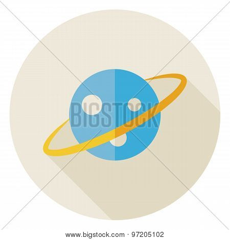 Flat Science Astronomy Space Planet Circle Icon With Long Shadow