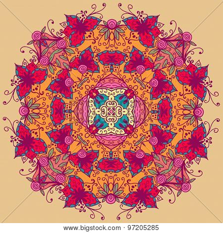 Ornamental round lace pattern. Vector illustration