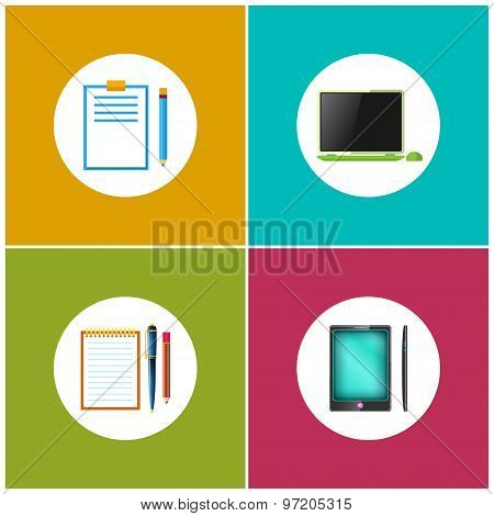Set Icons For Office Work And Business