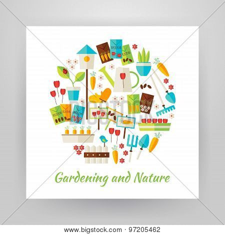 Flat Style Circle Vector Set Of Nature Gardening And Environment Objects Over White Paper