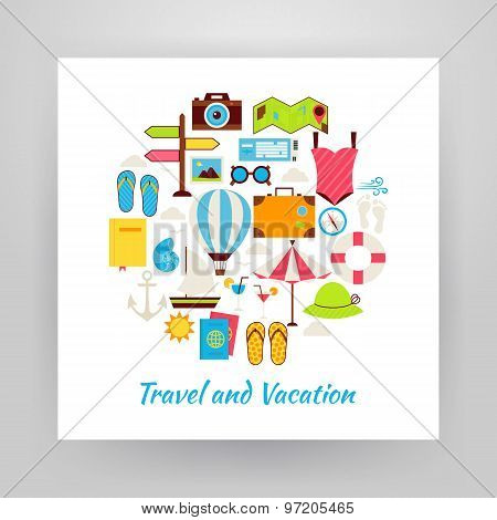 Flat Style Circle Vector Set Of Summer Vacation And Travel Objects Over White Paper