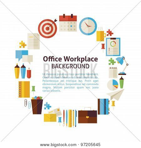 Flat Style Vector Circle Template Collection Of Business Workplace And Office Objects Over White
