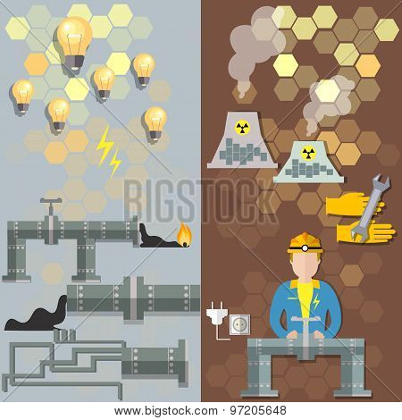 Nuclear Plants, Nuclear Energy, Oil, Electrical,   Pipe Petrochemical Production, vector banners