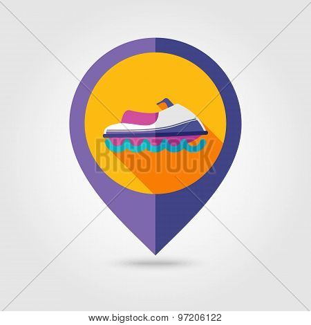 Jet Ski Flat Mapping Pin Icon With Long Shadow