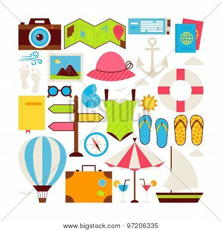 Flat Style Vector Collection Of Summer Vacation And Travel Objects Isolated Over White
