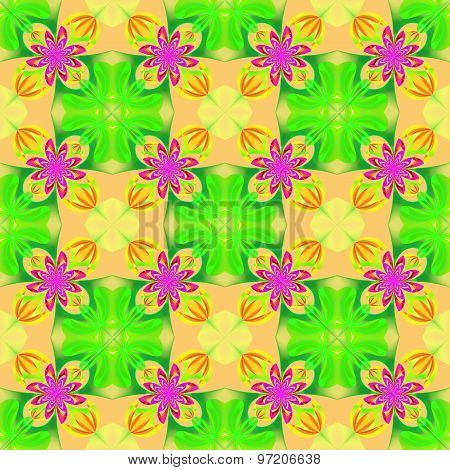 Beautiful Symmetrical Pattern Of The Flower Petals In Fractal Design. Green, Yellow And Pink Palette
