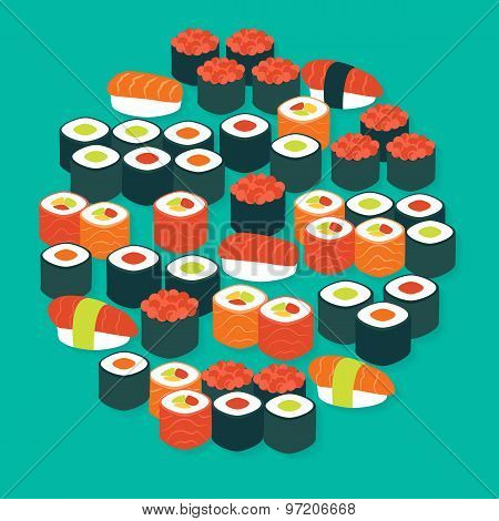 Food Sushi Sashimi And Rolls Vector Flat Design Circle Shaped Objects Set With Shadow