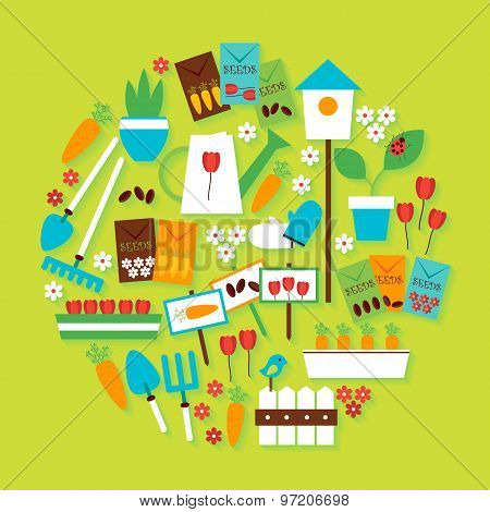 Nature Gardening And Environment Vector Flat Design Circle Shaped Objects Set With Shadow