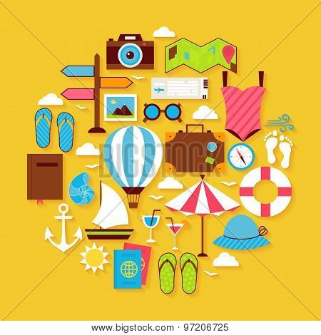 Summer Vacation And Travel Vector Flat Design Circle Shaped Objects Set With Shadow