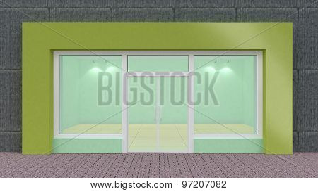 Empty Green Store Front With Big Windows