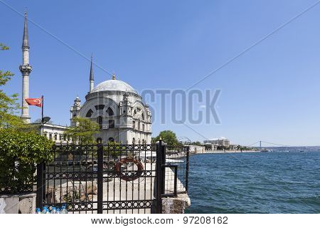 Bosphorus and Dolmabahçe Mosque. Istanbul. Turkey.