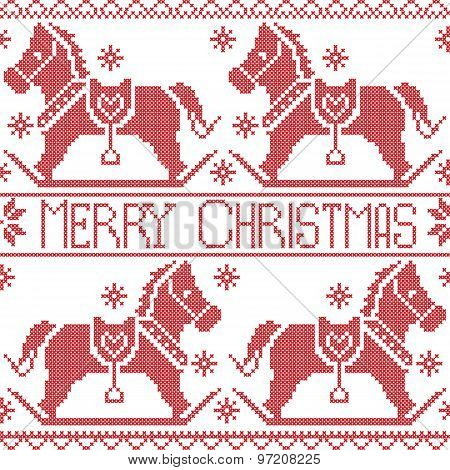 Merry Christmas Scandinavian seamless Nordic pattern , rocking dala pony horse, stars, snowflakes in