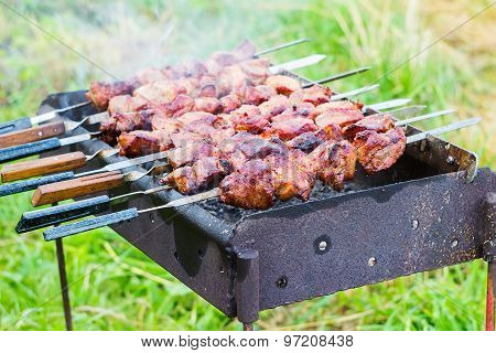Cooking meat on barbecue, close-up, outdoors