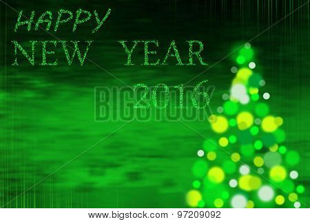 Green  Christmas Background With Inscription 2016