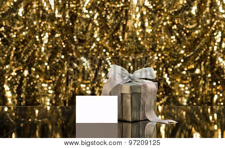 Silver Present With Place Card