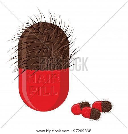 Pills For Hair Growth. Hairy Tablet. Vector Illustration Of Medicines