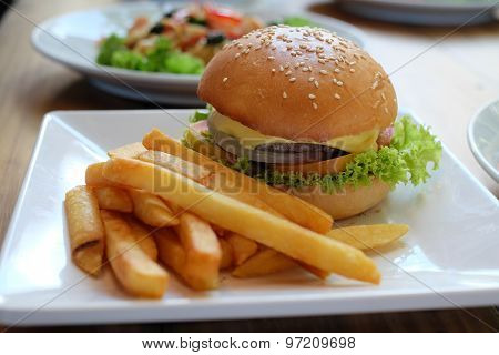 Hamburger on dish ready to eat