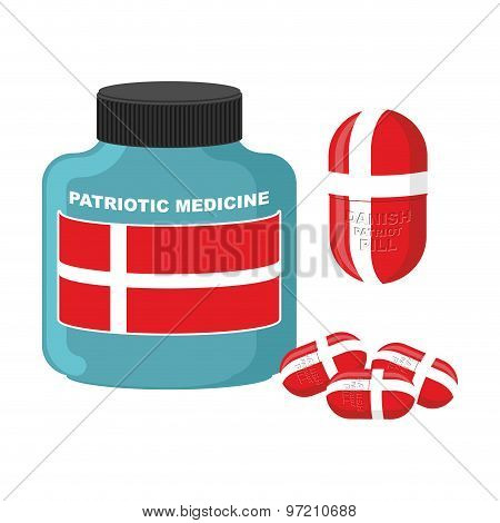 Patriotic Medicine In Denmark. Pills With  Danish Flag. Vector Illustration. Bottle With Pills.