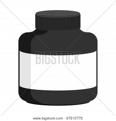 Container For Sports Nutrition Black Plastic. Vector Illustration