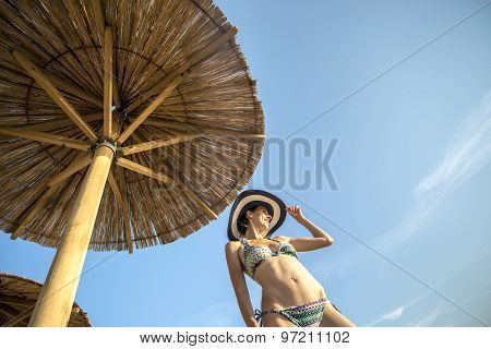 Shapely Woman Enjoying A Tropical Summer Vacation