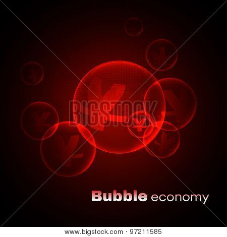 Yuan sign in bubble economic on map red vector background