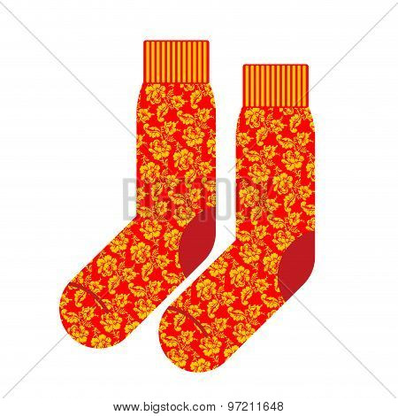 Socks For Patriot Of Russia. Clothing Accessory Russian National Pattern Khokhloma. Vector Illustrat