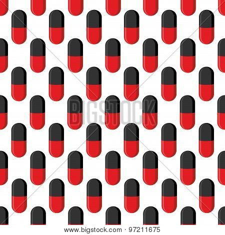 Capsule Medical Seamless Pattern. Pills Vector Background