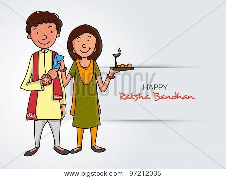 Illustration of a brother giving an envelope to his sister after tying rakhi for Indian festival, Raksha Bandhan celebration.