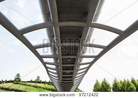 Closeup Modern Footbridge Suspended Photographed From Below