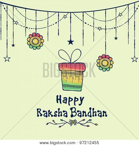 Elegant greeting card design decorated with gift box, hanging flowers and stars for Indian festival, Raksha Bandhan celebration.
