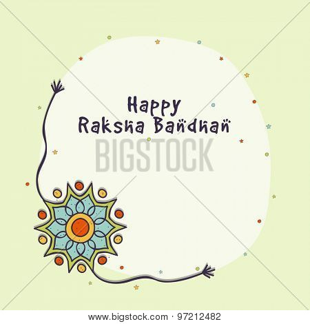 Beautiful rakhi and stars decorated blank frame for Indian festival, Raksha Bandhan celebration.