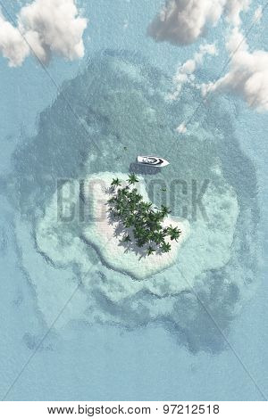 Tropical Island with Boat from Above
