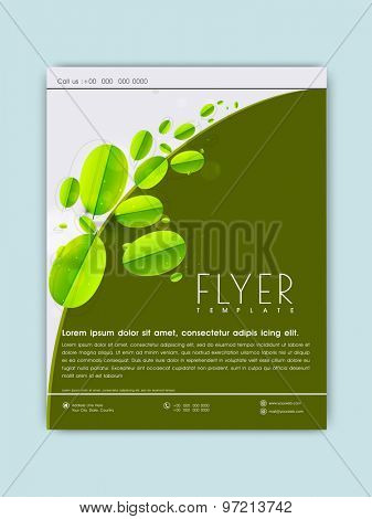 Stylish Save Nature flyer, banner or template with fresh green leaves.