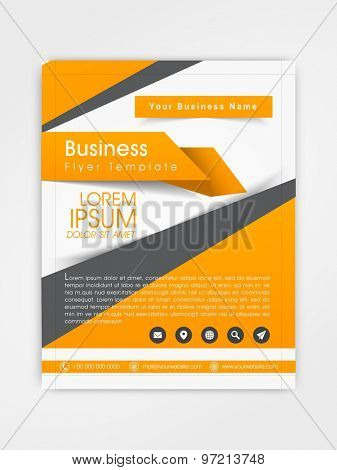 Business flyer, template or brochure design with web icons for corporate purpose.