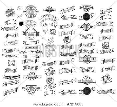 Mega set of thin line retro ribbons