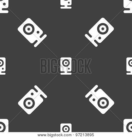 Web Cam Icon Sign. Seamless Pattern On A Gray Background. Vector