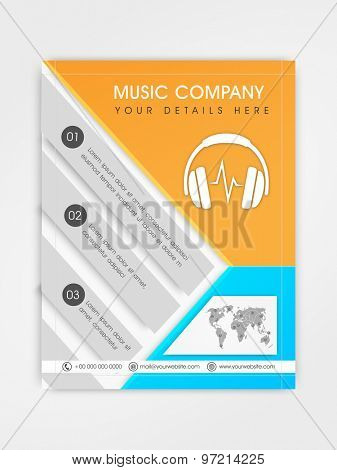Music Company template, brochure or flyer design with place holders for your content.