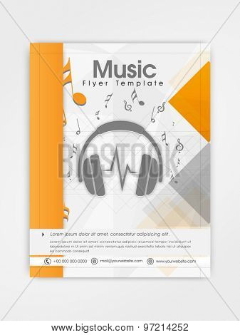 Creative professional template, brochure or flyer design for music company.