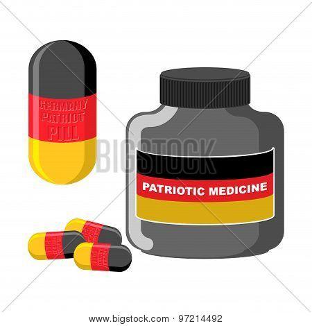 Patriotic Medicine Germany. Pills With A German Flag. Vector Illustration. Medical Bottle Tablets