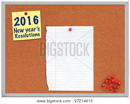 2016 New year's resolutions note on cork board with white paper