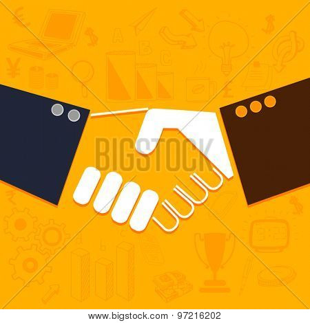 Illustration of business people shaking hands on various infographic background.