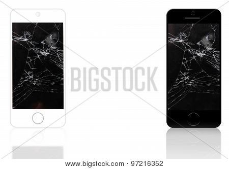 Two cell phones with smashed lcd screen