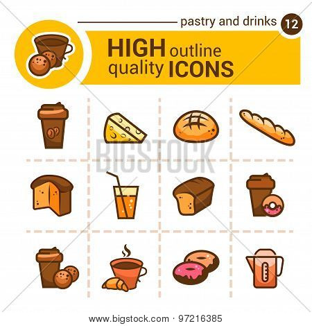pastry and drinks icons